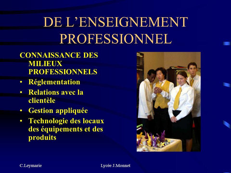 C.LeymarieLycée J.Monnet DE LENSEIGNEMENT PROFESSIONNEL TECHNIQUES PROFESSIONNELLES Techniques de production, préparation et conditionnement Technique