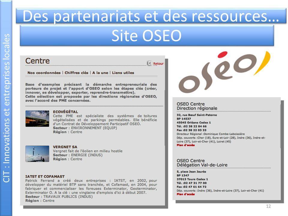 CIT : Innovations et entreprises locales Des partenariats et des ressources… Site OSEO 12