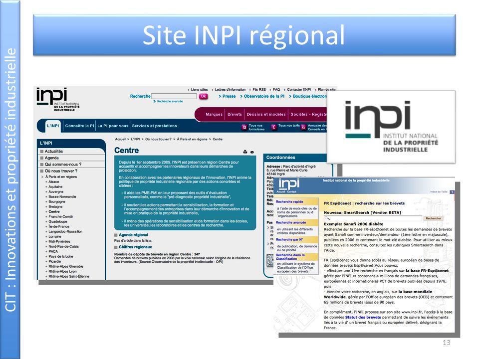 CIT : Innovations et propriété industrielle Site INPI régional 13