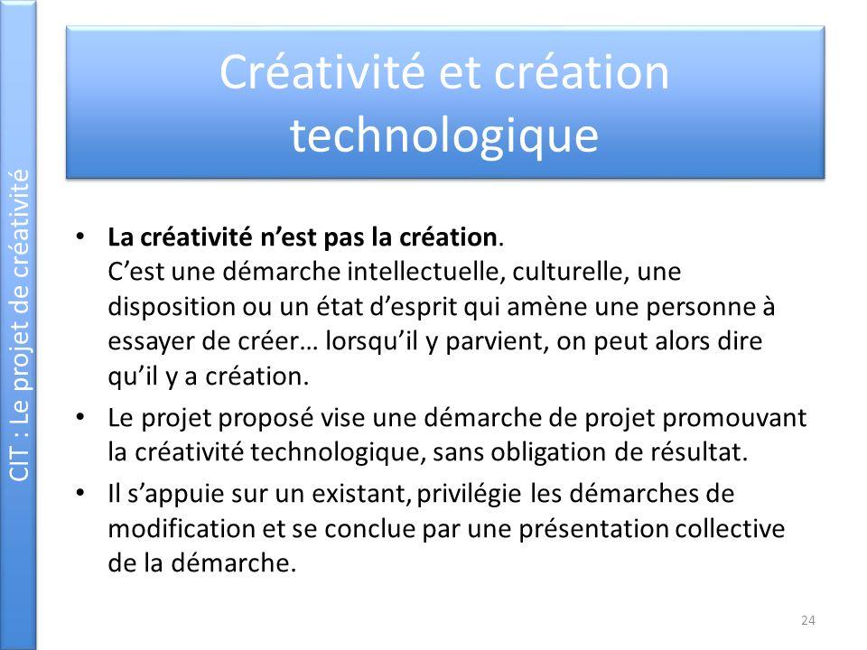 CIT : Le projet de créativité Créativité et création technologique La créativité nest pas la création. Cest une démarche intellectuelle, culturelle, u