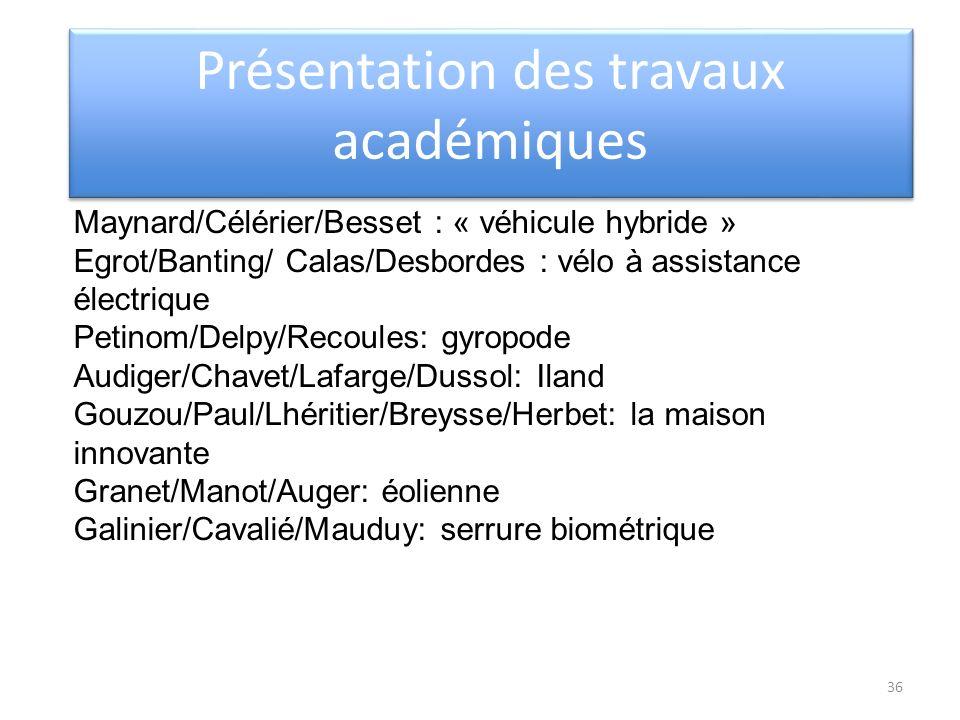 Présentation des travaux académiques Maynard/Célérier/Besset : « véhicule hybride » Egrot/Banting/ Calas/Desbordes : vélo à assistance électrique Peti