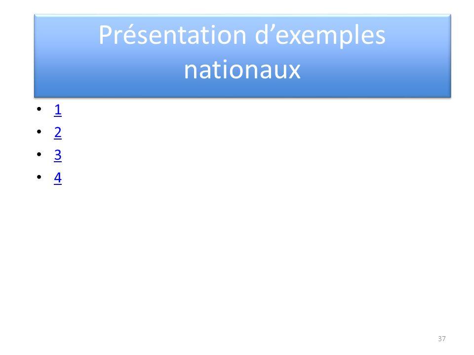 Présentation dexemples nationaux 1 2 3 4 37