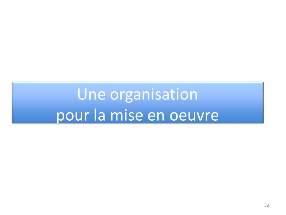 Une organisation pour la mise en oeuvre Une organisation pour la mise en oeuvre 38