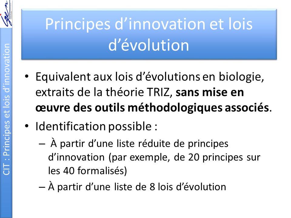 Principes dinnovation et lois dévolution Equivalent aux lois dévolutions en biologie, extraits de la théorie TRIZ, sans mise en œuvre des outils métho