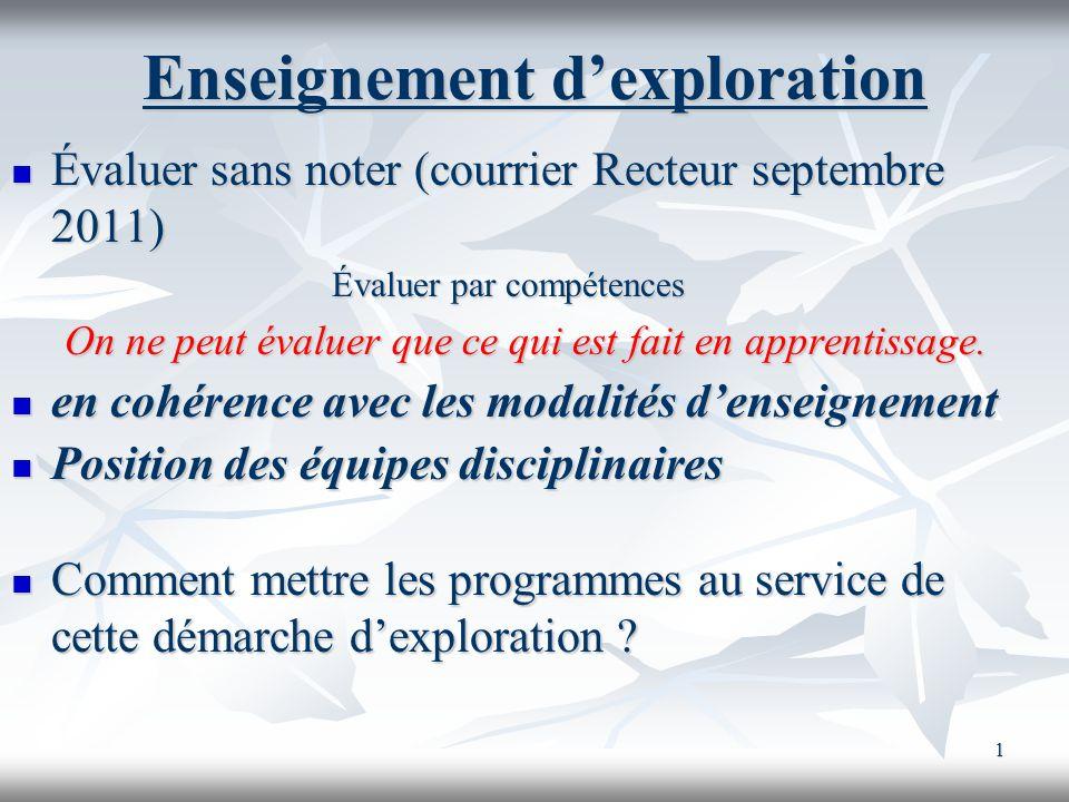 1 Enseignement dexploration Évaluer sans noter (courrier Recteur septembre 2011) Évaluer sans noter (courrier Recteur septembre 2011) Évaluer par comp