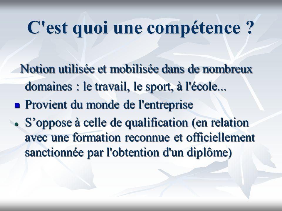 C'est quoi une compétence ? Notion utilisée et mobilisée dans de nombreux domaines : le travail, le sport, à l'école... Notion utilisée et mobilisée d