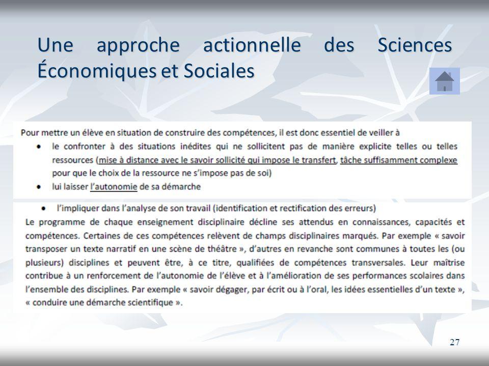 27 Une approche actionnelle des Sciences Économiques et Sociales