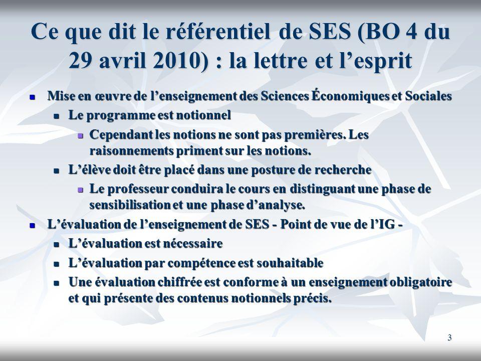 3 Ce que dit le référentiel de SES (BO 4 du 29 avril 2010) : la lettre et lesprit Mise en œuvre de lenseignement des Sciences Économiques et Sociales