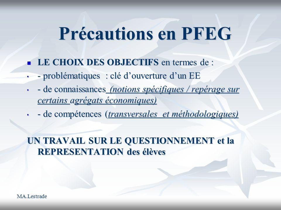 MA.Lestrade Précautions en PFEG LE CHOIX DES OBJECTIFS en termes de : LE CHOIX DES OBJECTIFS en termes de : - problématiques : clé douverture dun EE -