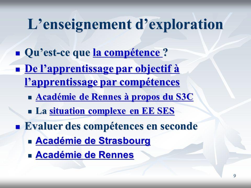 9 Lenseignement dexploration Quest-ce que la compétence ? Quest-ce que la compétence ?la compétence la compétence De lapprentissage par objectif à lap