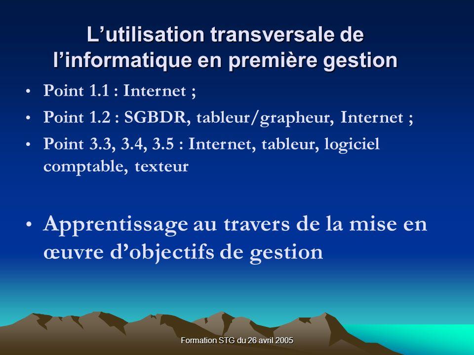 Formation STG du 26 avril 2005 Lutilisation transversale de linformatique en première gestion Point 1.1 : Internet ; Point 1.2 : SGBDR, tableur/grapheur, Internet ; Point 3.3, 3.4, 3.5 : Internet, tableur, logiciel comptable, texteur Apprentissage au travers de la mise en œuvre dobjectifs de gestion