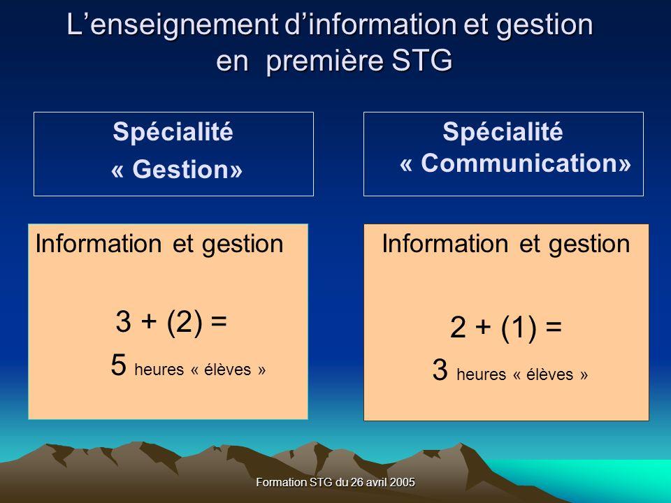 Formation STG du 26 avril 2005 Spécialité « Communication» Information et gestion 3 + (2) = 5 heures « élèves » Information et gestion 2 + (1) = 3 heures « élèves » Spécialité « Gestion» Lenseignement dinformation et gestion en première STG