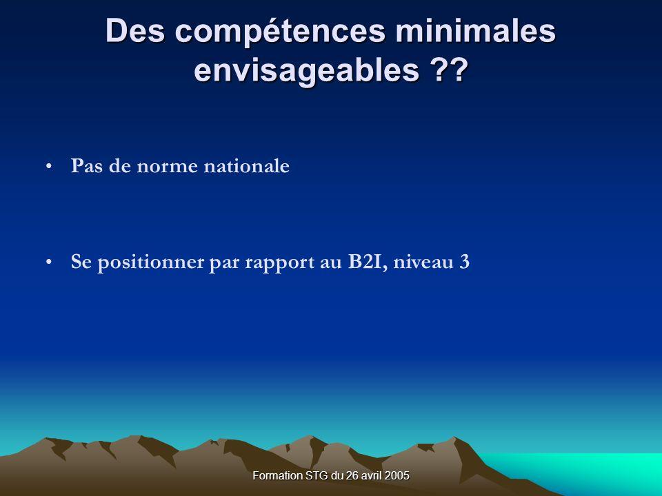 Formation STG du 26 avril 2005 Des compétences minimales envisageables ?.