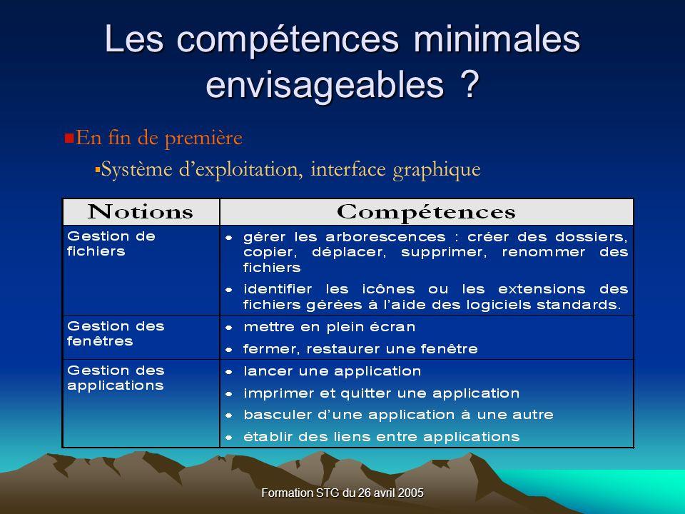 Formation STG du 26 avril 2005 Les compétences minimales envisageables .