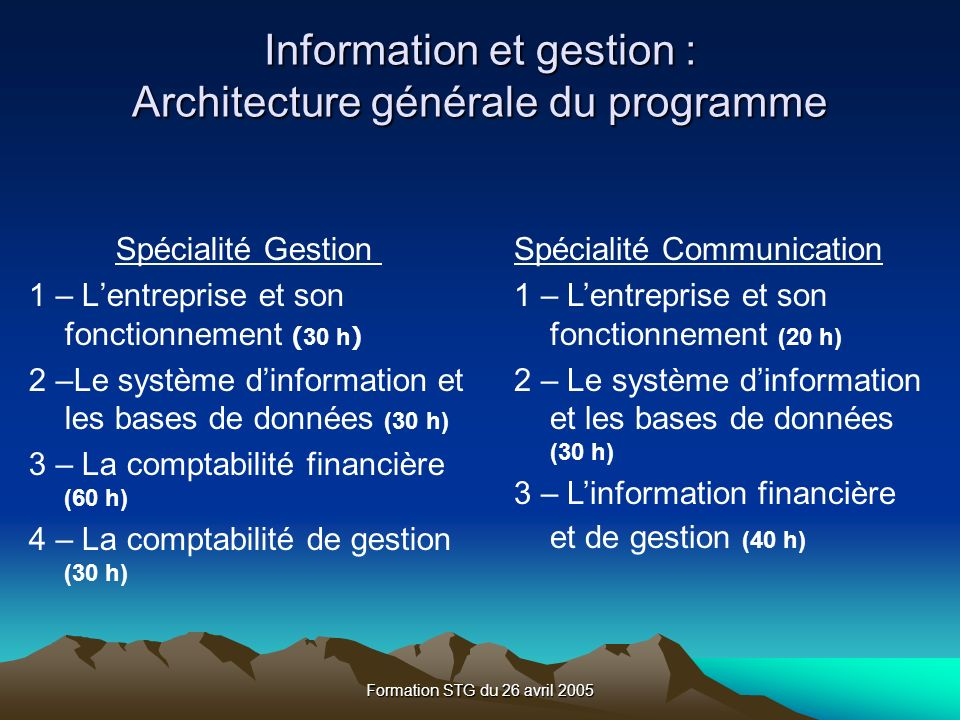 Formation STG du 26 avril 2005 DEPRECIATION