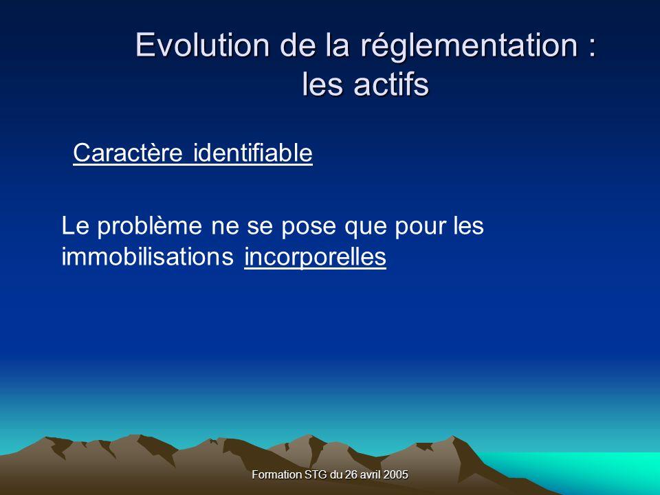 Formation STG du 26 avril 2005 Evolution de la réglementation : les actifs Caractère identifiable Le problème ne se pose que pour les immobilisations incorporelles