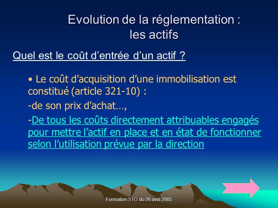 Formation STG du 26 avril 2005 Evolution de la réglementation : les actifs Quel est le coût dentrée dun actif .