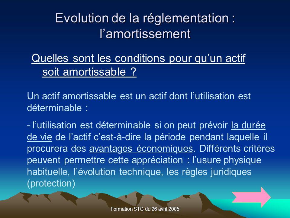 Formation STG du 26 avril 2005 Evolution de la réglementation : lamortissement Quelles sont les conditions pour quun actif soit amortissable .