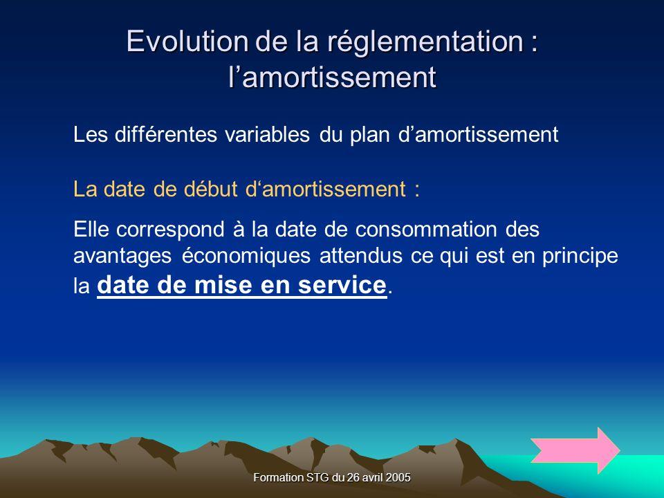 Formation STG du 26 avril 2005 Evolution de la réglementation : lamortissement Les différentes variables du plan damortissement La date de début damortissement : Elle correspond à la date de consommation des avantages économiques attendus ce qui est en principe la date de mise en service.