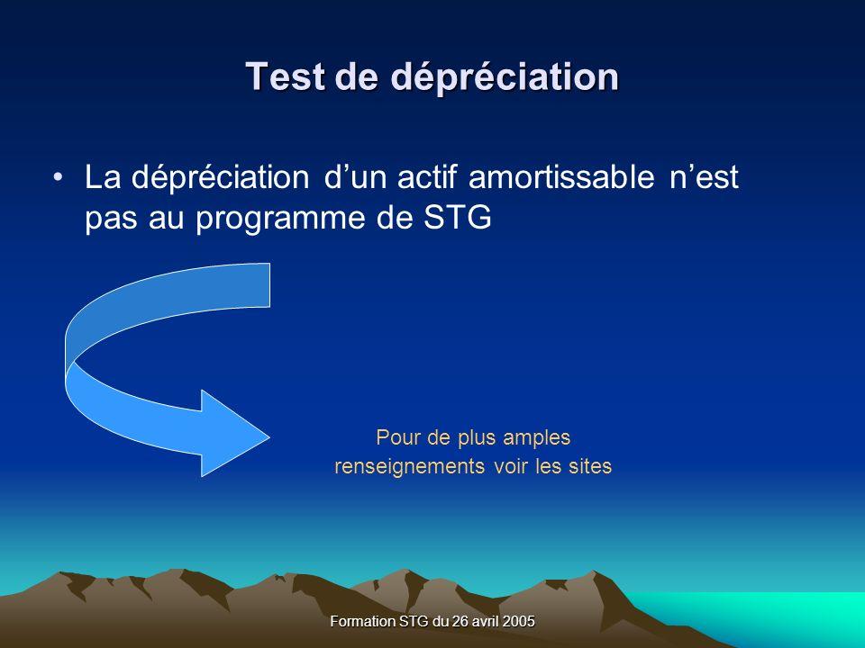 Formation STG du 26 avril 2005 Test de dépréciation La dépréciation dun actif amortissable nest pas au programme de STG Pour de plus amples renseignements voir les sites