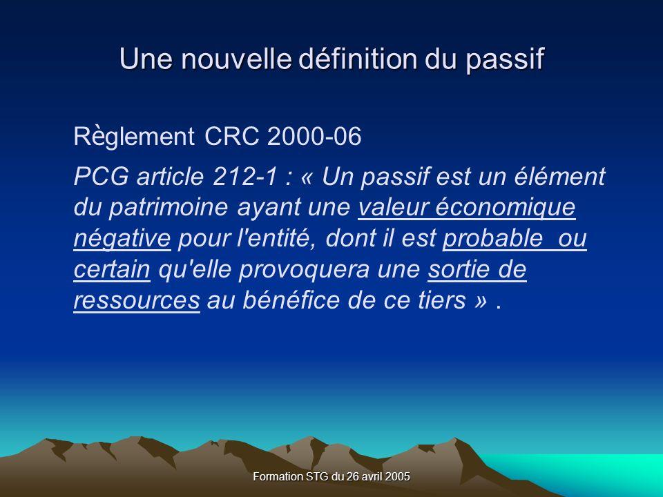 R è glement CRC 2000-06 PCG article 212-1 : « Un passif est un élément du patrimoine ayant une valeur économique négative pour l entité, dont il est probable ou certain qu elle provoquera une sortie de ressources au bénéfice de ce tiers ».