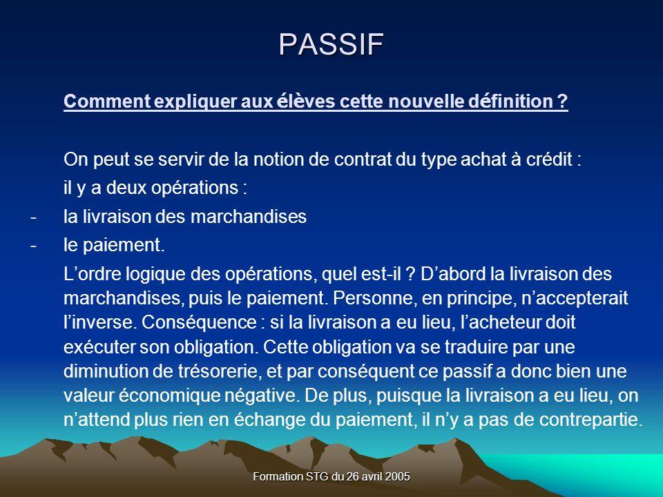 Formation STG du 26 avril 2005 Comment expliquer aux é l è ves cette nouvelle d é finition .