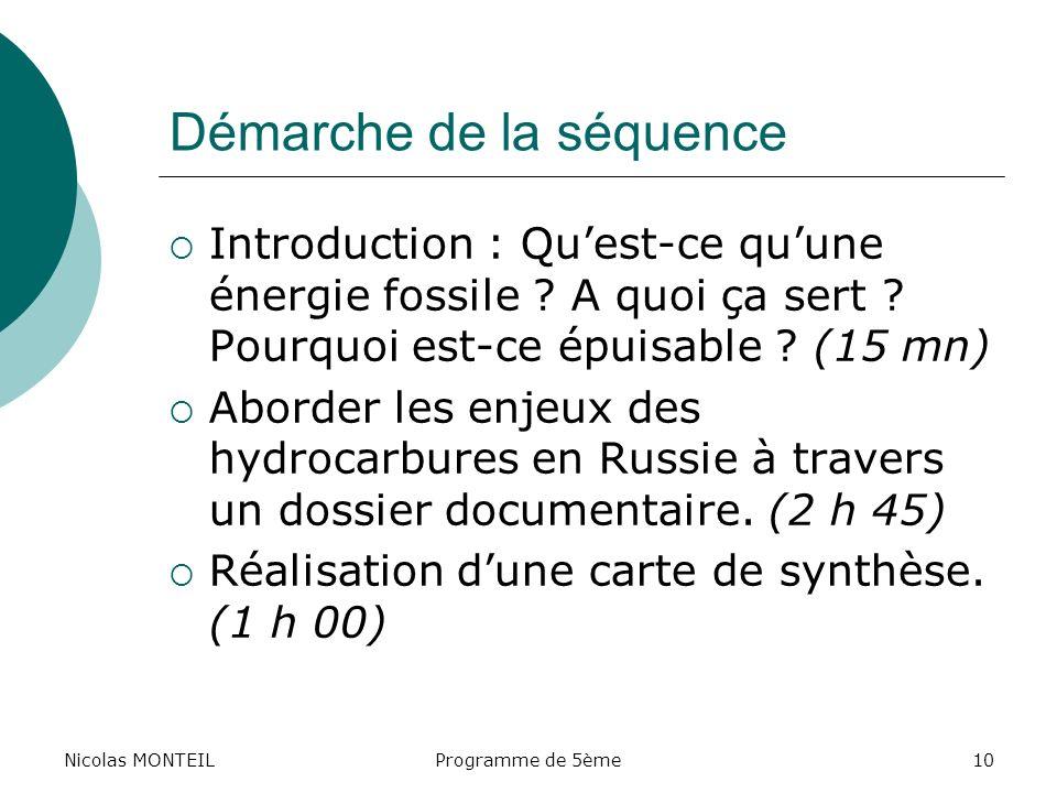Nicolas MONTEILProgramme de 5ème10 Démarche de la séquence Introduction : Quest-ce quune énergie fossile ? A quoi ça sert ? Pourquoi est-ce épuisable