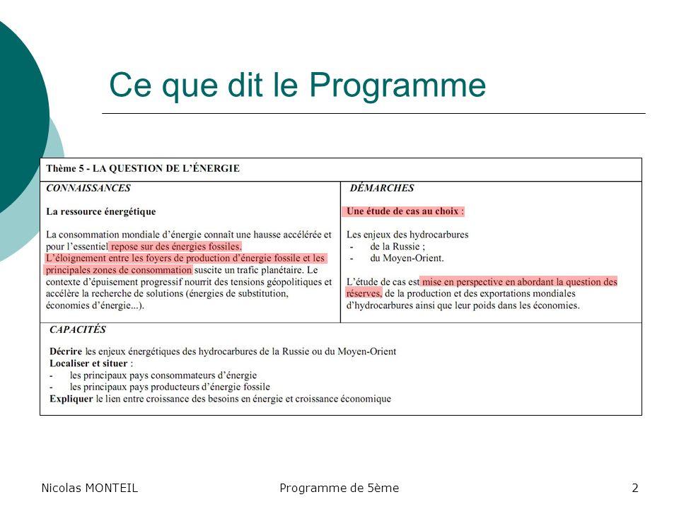 Nicolas MONTEILProgramme de 5ème2 Ce que dit le Programme