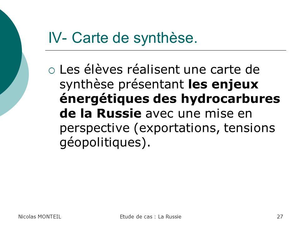 Nicolas MONTEILEtude de cas : La Russie27 IV- Carte de synthèse. Les élèves réalisent une carte de synthèse présentant les enjeux énergétiques des hyd