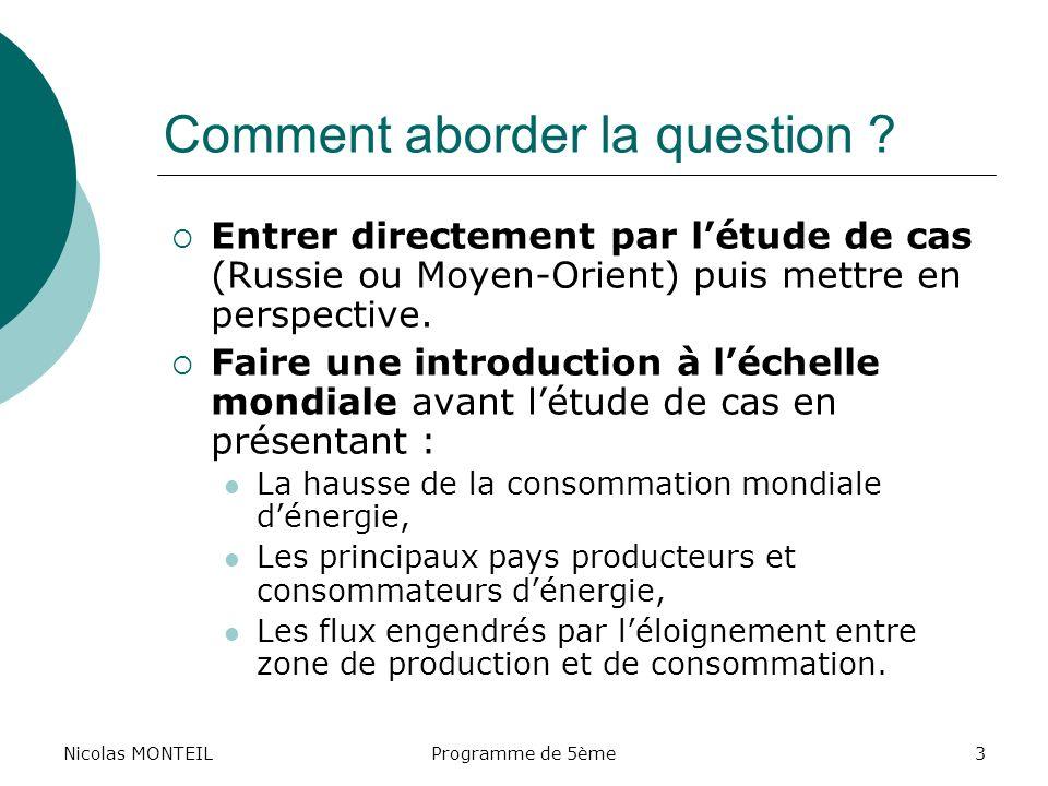 Nicolas MONTEILProgramme de 5ème3 Comment aborder la question ? Entrer directement par létude de cas (Russie ou Moyen-Orient) puis mettre en perspecti