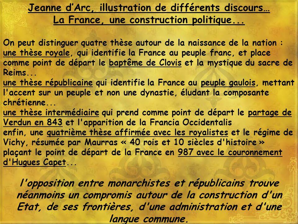 Jeanne dArc est utilisée sur de nombreux supports à vocation patriotique, cartes postales pendant la première guerre mondiale, timbres à loccasion de la Libération en 1946.