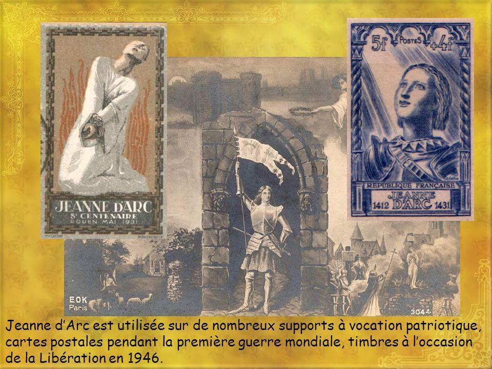 Jeanne dArc est utilisée sur de nombreux supports à vocation patriotique, cartes postales pendant la première guerre mondiale, timbres à loccasion de