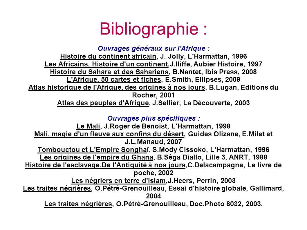 Bibliographie : Ouvrages généraux sur l Afrique : Histoire du continent africain, J.