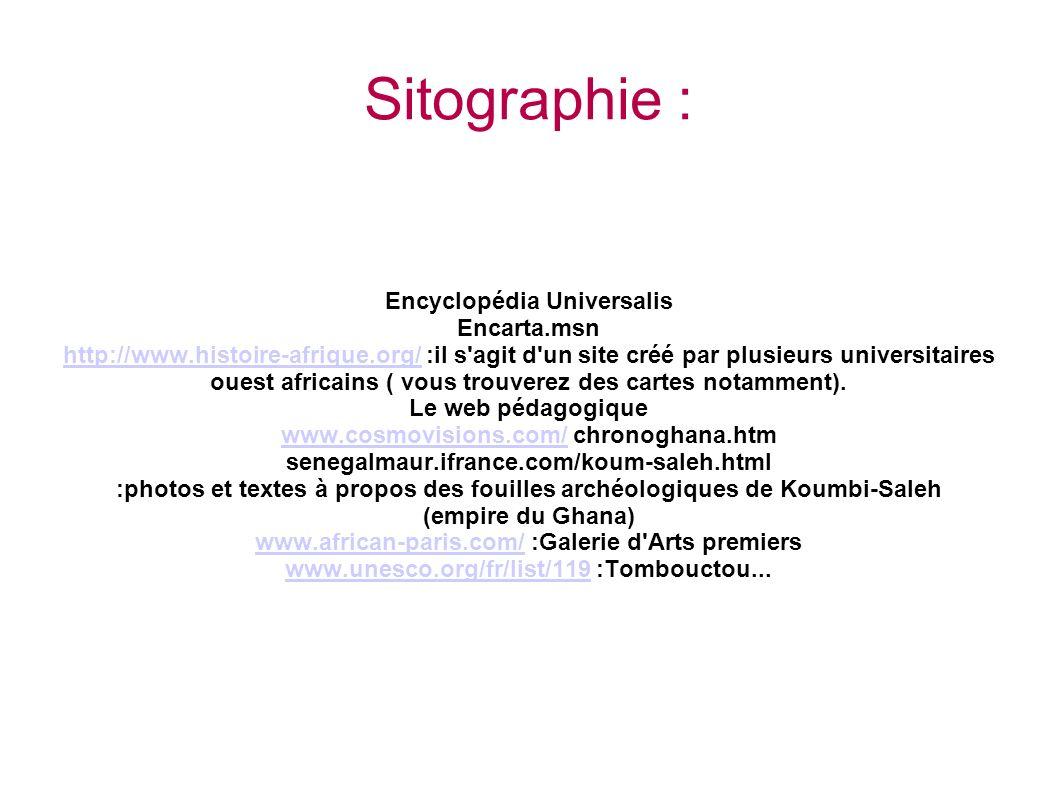 Sitographie : Encyclopédia Universalis Encarta.msn http://www.histoire-afrique.org/http://www.histoire-afrique.org/ :il s agit d un site créé par plusieurs universitaires ouest africains ( vous trouverez des cartes notamment).