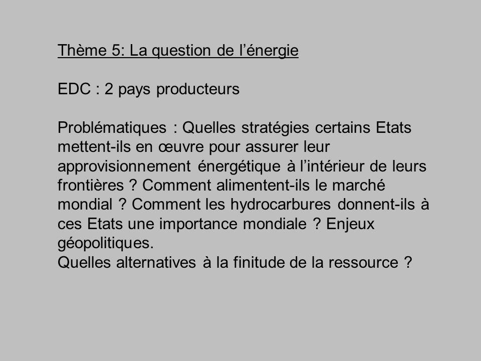 Thème 5: La question de lénergie EDC : 2 pays producteurs Problématiques : Quelles stratégies certains Etats mettent-ils en œuvre pour assurer leur ap