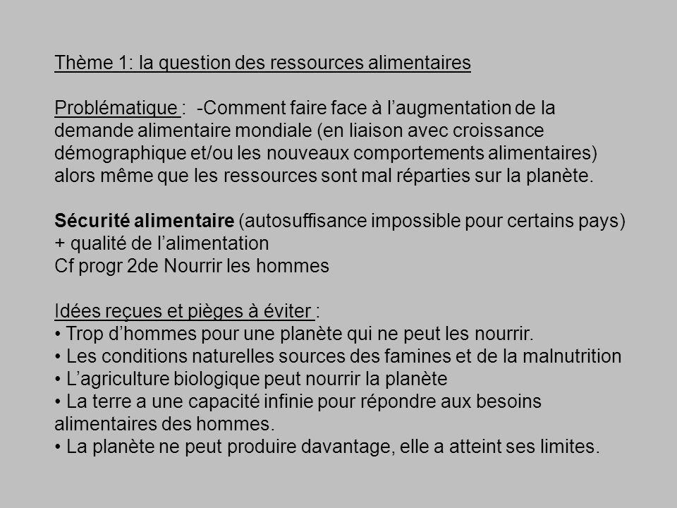 Thème 1: la question des ressources alimentaires Problématique : -Comment faire face à laugmentation de la demande alimentaire mondiale (en liaison av
