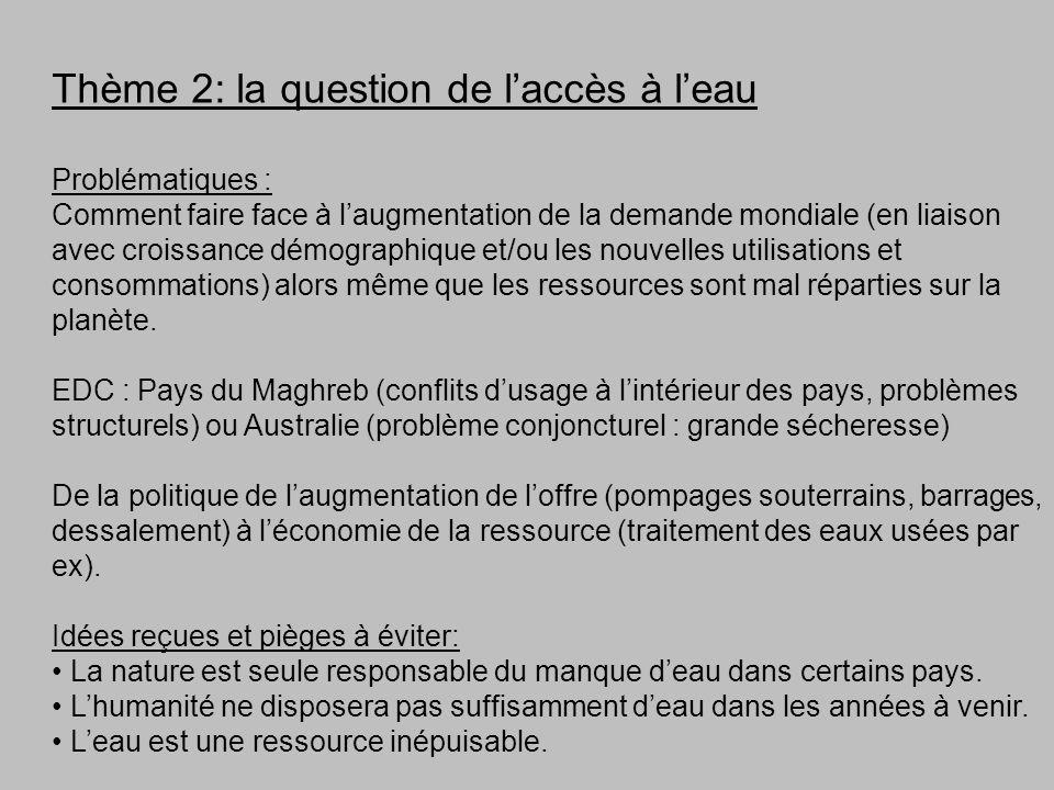 Thème 2: la question de laccès à leau Problématiques : Comment faire face à laugmentation de la demande mondiale (en liaison avec croissance démograph