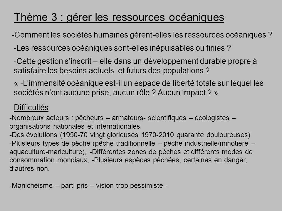 Thème 3 : gérer les ressources océaniques -Comment les sociétés humaines gèrent-elles les ressources océaniques ? -Les ressources océaniques sont-elle