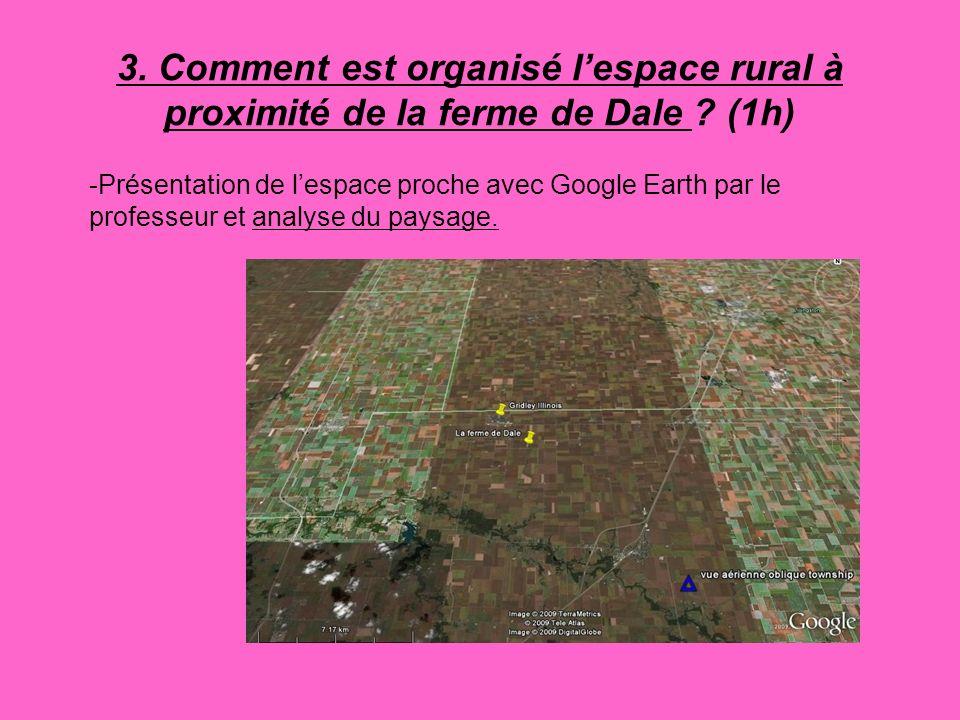 3. Comment est organisé lespace rural à proximité de la ferme de Dale ? (1h) -Présentation de lespace proche avec Google Earth par le professeur et an