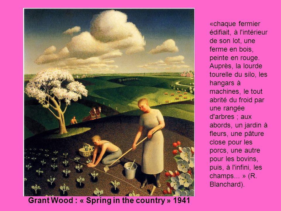 «chaque fermier édifiait, à l'intérieur de son lot, une ferme en bois, peinte en rouge. Auprès, la lourde tourelle du silo, les hangars à machines, le