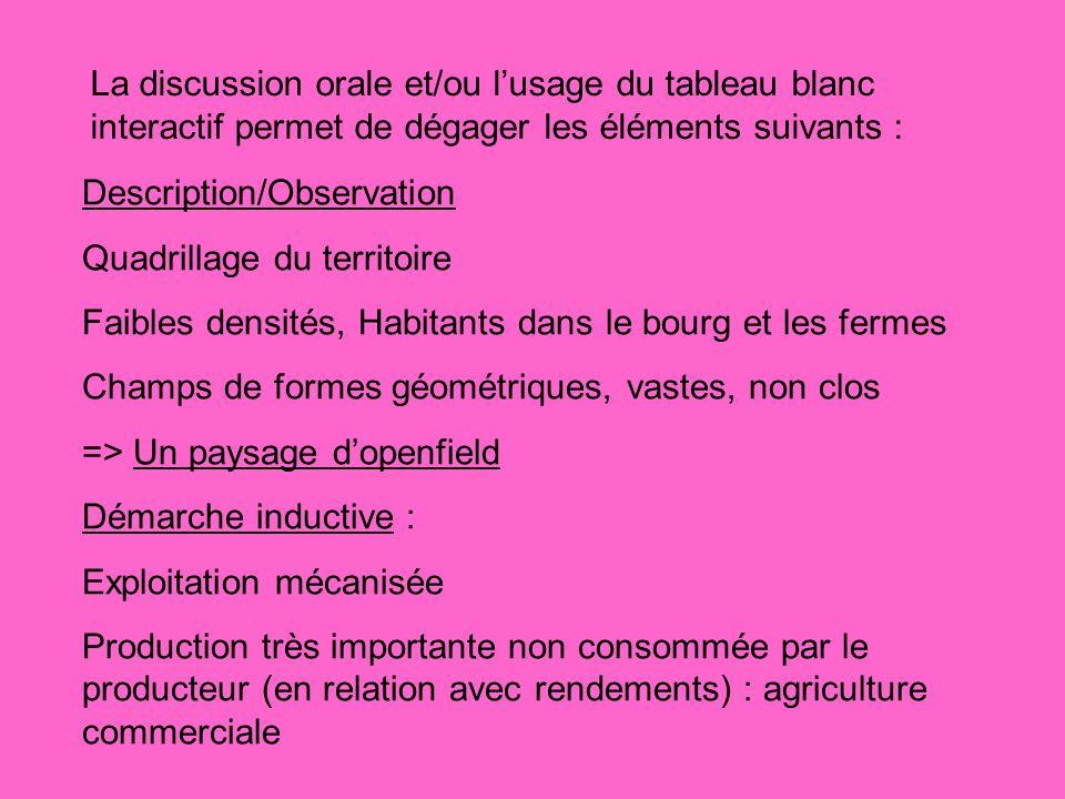 La discussion orale et/ou lusage du tableau blanc interactif permet de dégager les éléments suivants : Description/Observation Quadrillage du territoi
