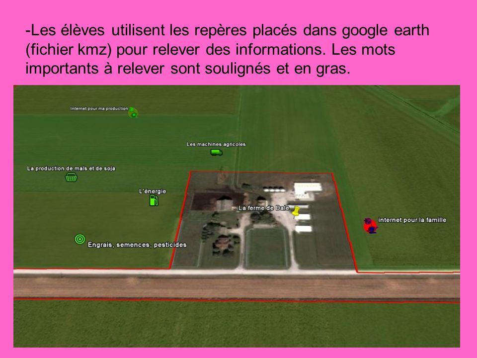 -Les élèves utilisent les repères placés dans google earth (fichier kmz) pour relever des informations. Les mots importants à relever sont soulignés e