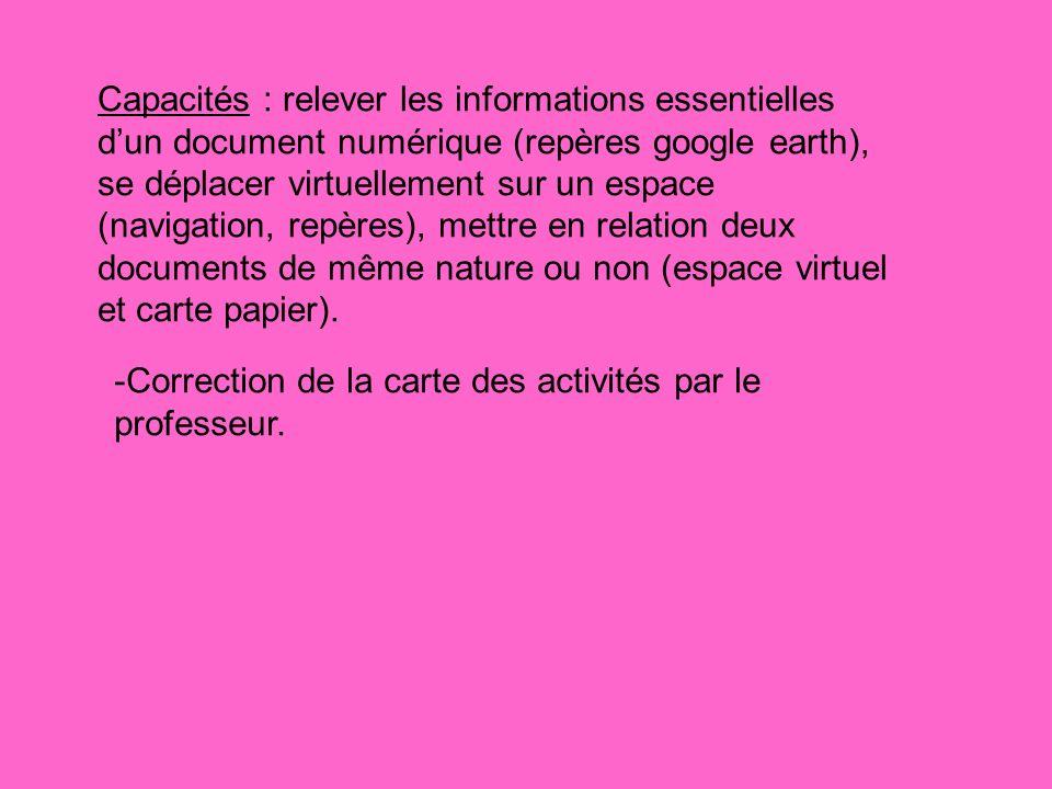 -Correction de la carte des activités par le professeur. Capacités : relever les informations essentielles dun document numérique (repères google eart