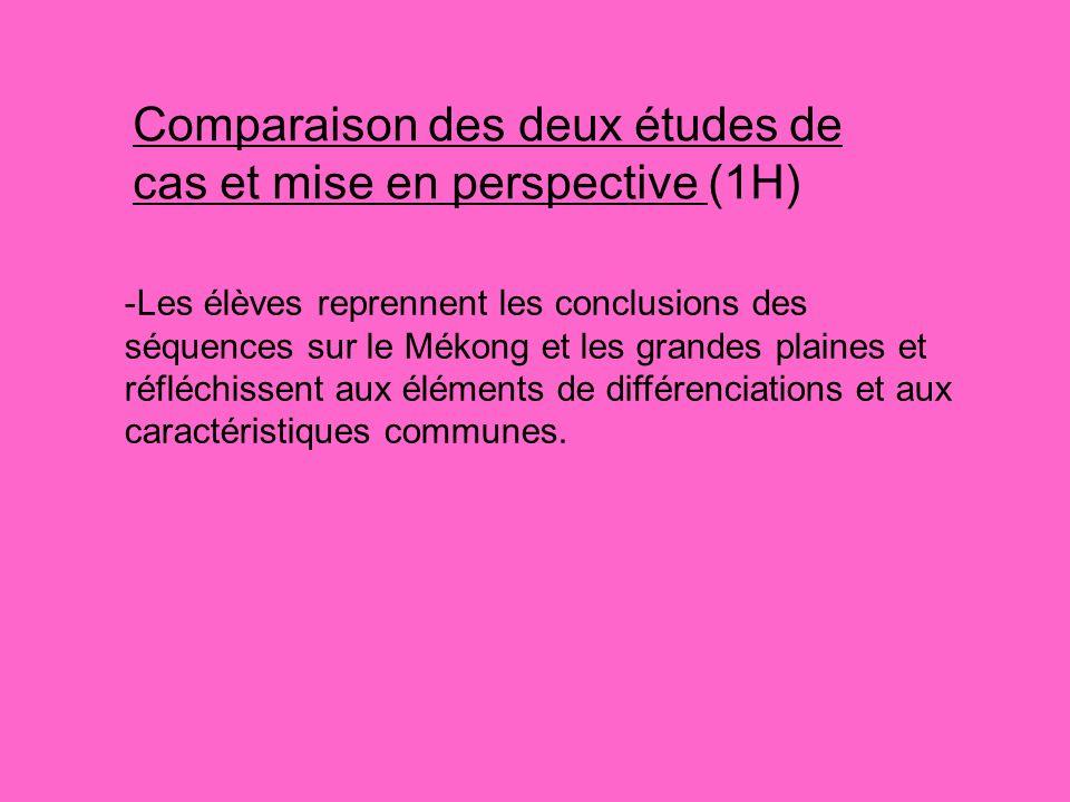 Comparaison des deux études de cas et mise en perspective (1H) -Les élèves reprennent les conclusions des séquences sur le Mékong et les grandes plain