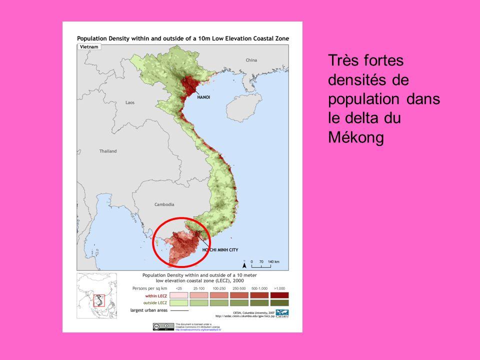 Très fortes densités de population dans le delta du Mékong