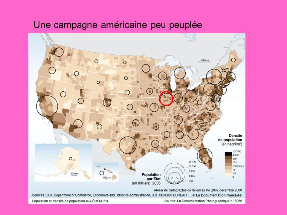 Une campagne américaine peu peuplée
