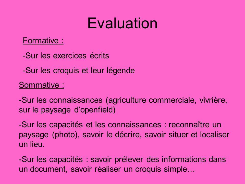 Evaluation Formative : -Sur les exercices écrits -Sur les croquis et leur légende Sommative : -Sur les connaissances (agriculture commerciale, vivrièr