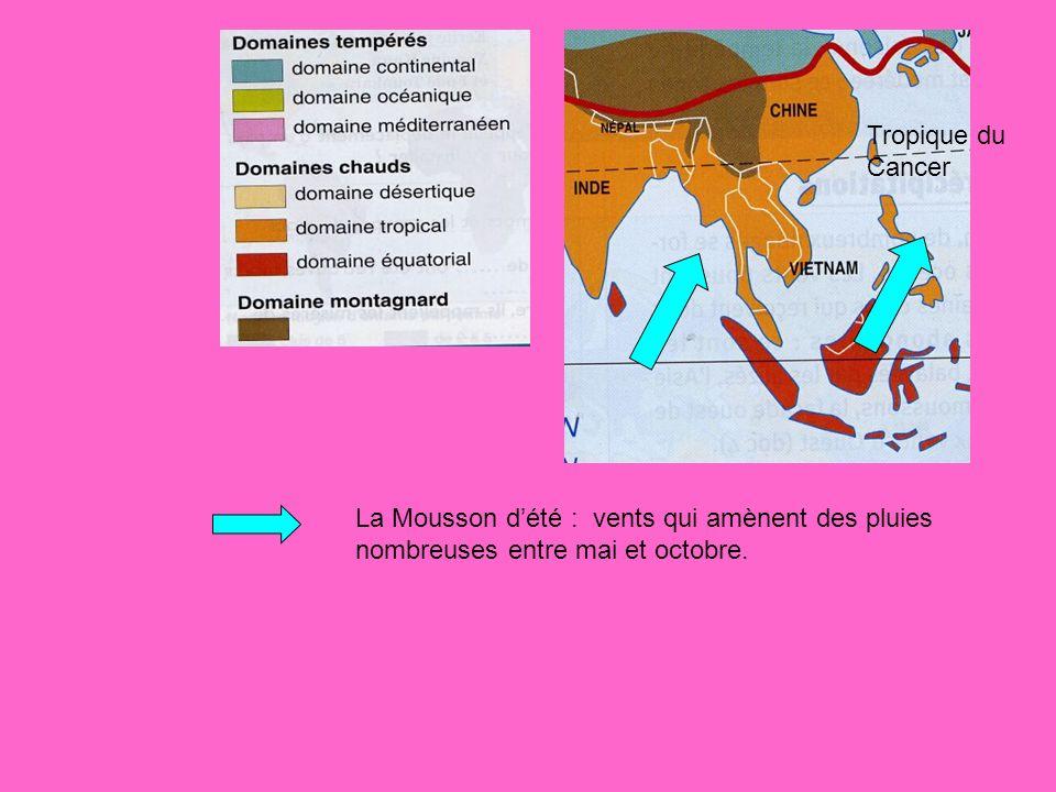 Tropique du Cancer La Mousson dété : vents qui amènent des pluies nombreuses entre mai et octobre.