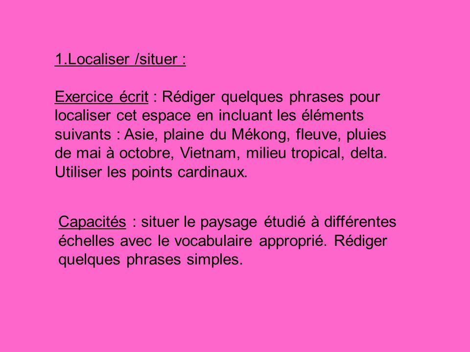 Capacités : situer le paysage étudié à différentes échelles avec le vocabulaire approprié. Rédiger quelques phrases simples. 1.Localiser /situer : Exe