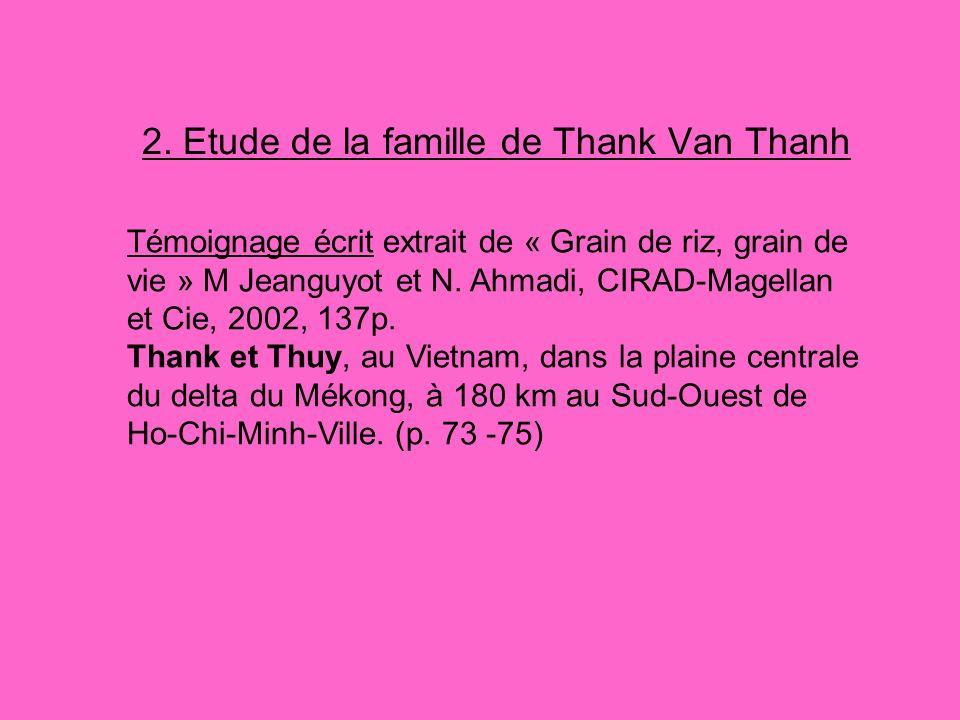 2. Etude de la famille de Thank Van Thanh Témoignage écrit extrait de « Grain de riz, grain de vie » M Jeanguyot et N. Ahmadi, CIRAD-Magellan et Cie,